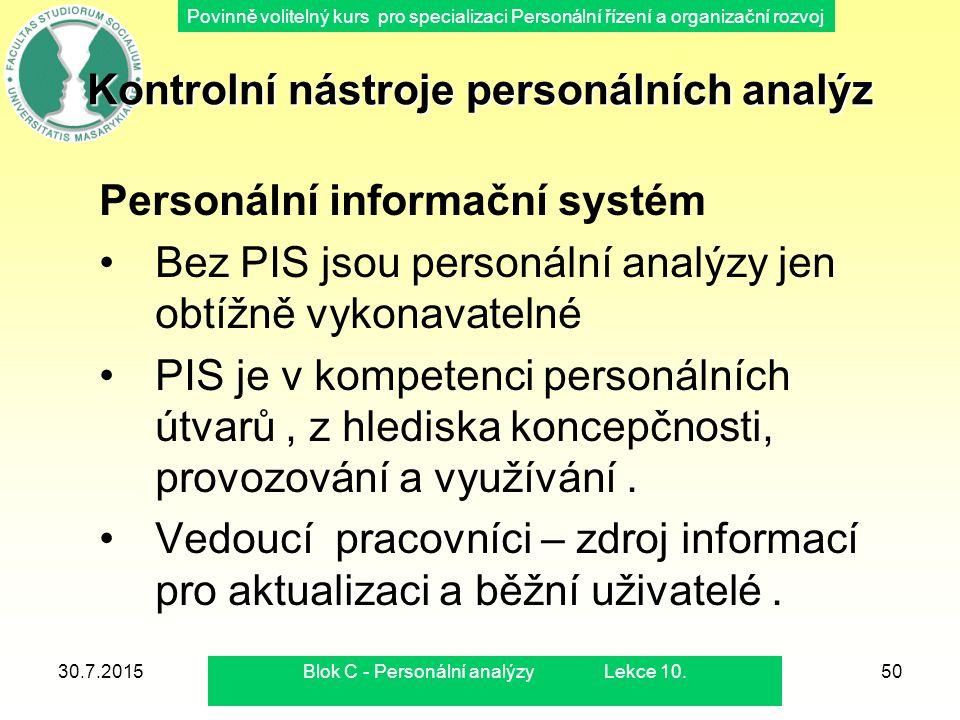 Kontrolní nástroje personálních analýz