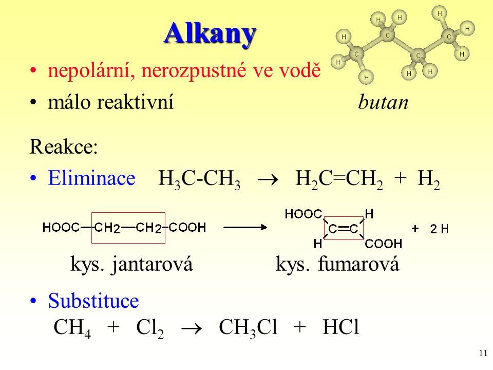 Alkany nepolární, nerozpustné ve vodě málo reaktivní butan Reakce:
