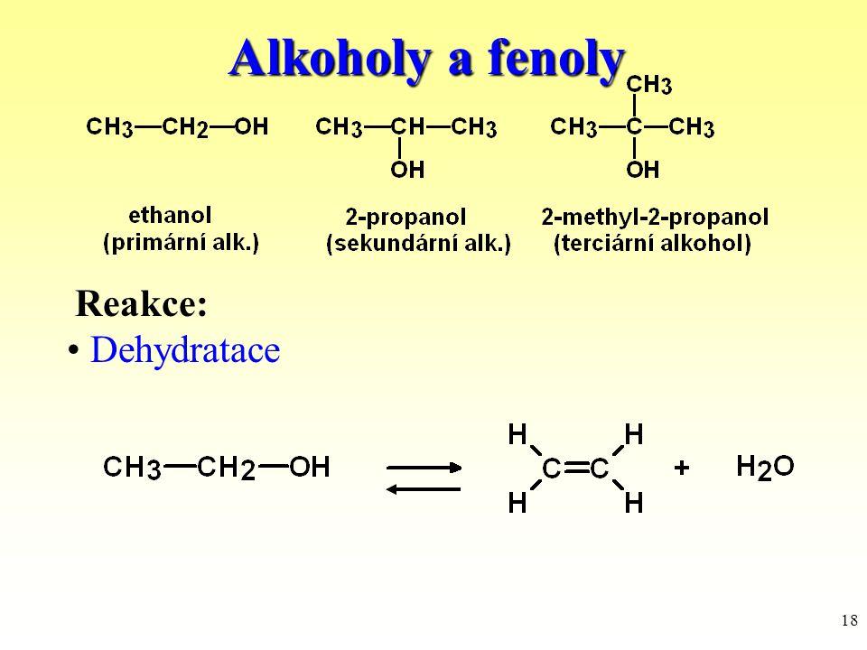 Alkoholy a fenoly Reakce: Dehydratace
