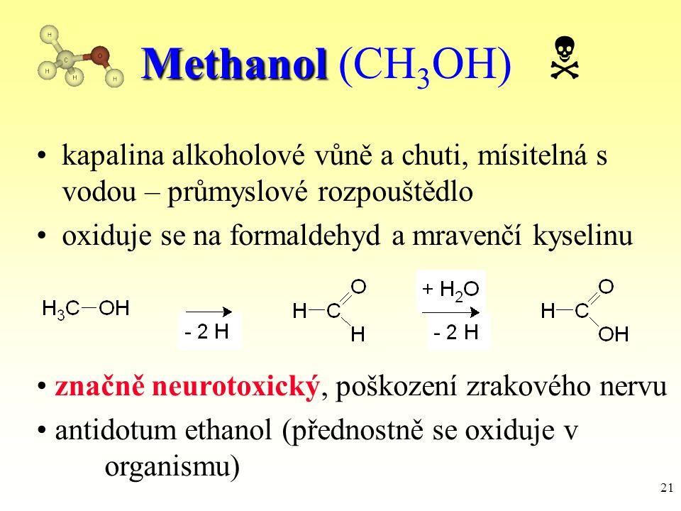 Methanol (CH3OH)  kapalina alkoholové vůně a chuti, mísitelná s vodou – průmyslové rozpouštědlo.