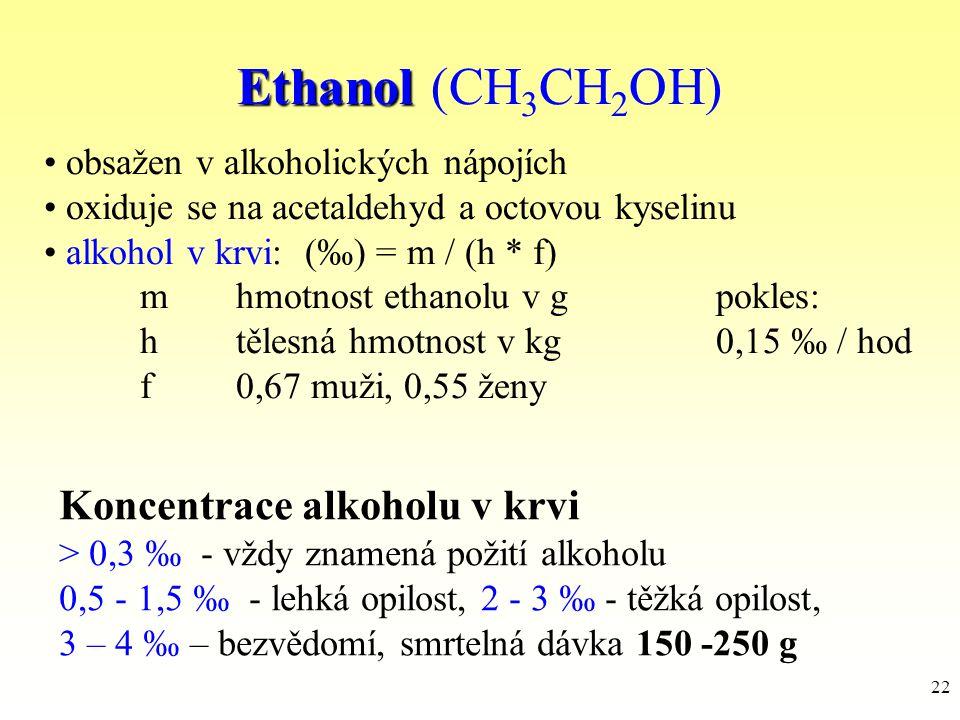Ethanol (CH3CH2OH) Koncentrace alkoholu v krvi