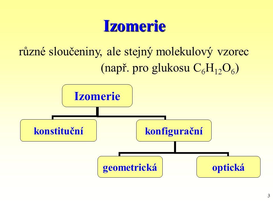 Izomerie různé sloučeniny, ale stejný molekulový vzorec