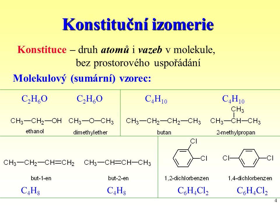 Konstituční izomerie Konstituce – druh atomů i vazeb v molekule,