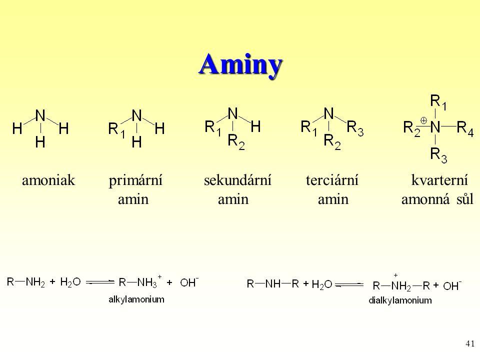 Aminy amoniak primární sekundární terciární kvarterní