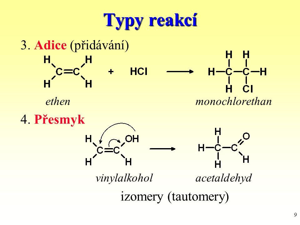 Typy reakcí 3. Adice (přidávání) 4. Přesmyk vinylalkohol acetaldehyd