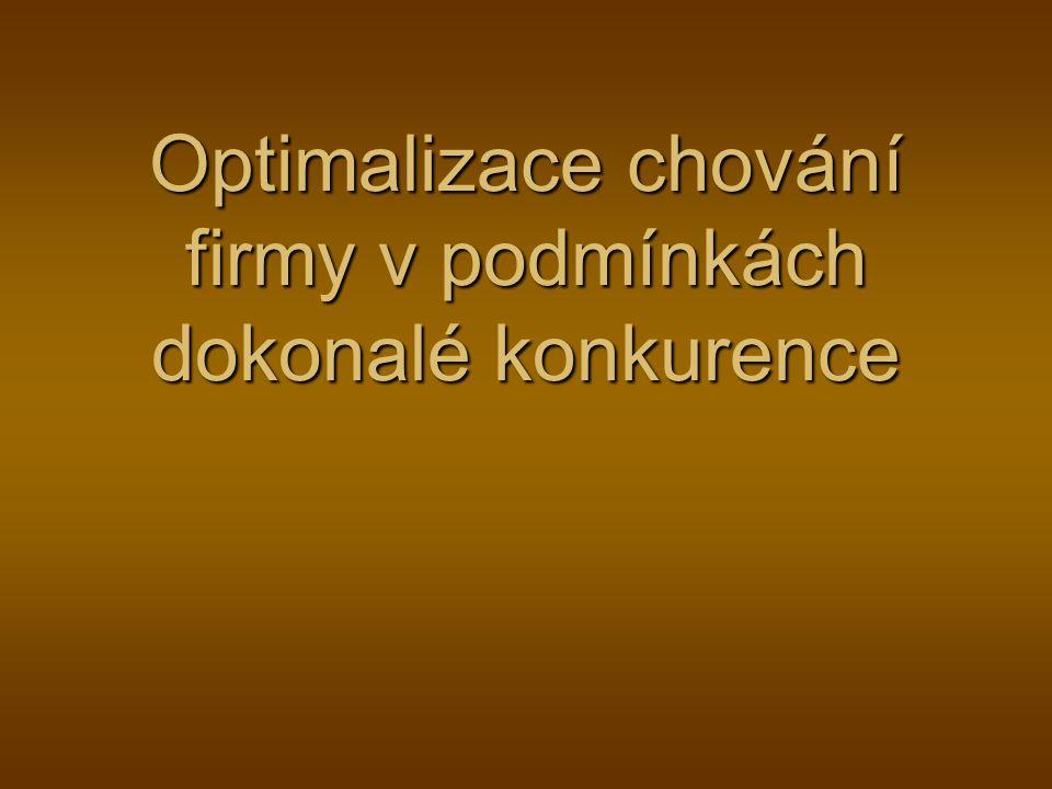 Optimalizace chování firmy v podmínkách dokonalé konkurence