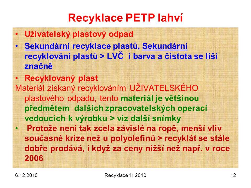Recyklace PETP lahví Uživatelský plastový odpad