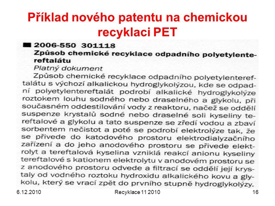 Příklad nového patentu na chemickou recyklaci PET