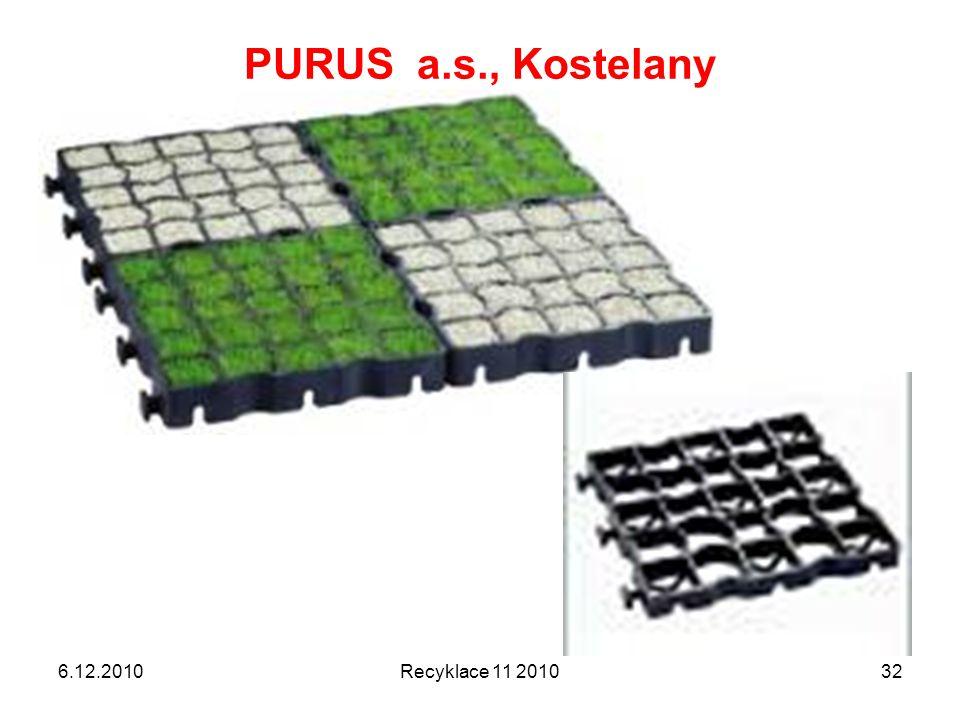 PURUS a.s., Kostelany 6.12.2010 Recyklace 11 2010