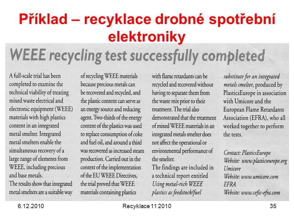 Příklad – recyklace drobné spotřební elektroniky