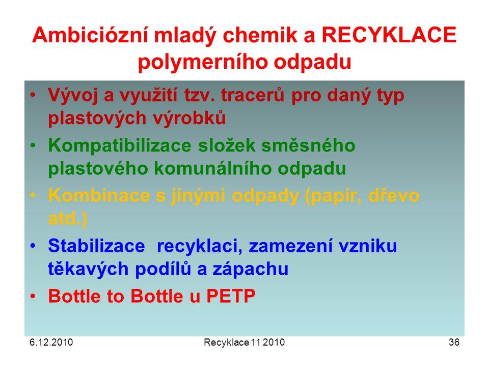 Ambiciózní mladý chemik a RECYKLACE polymerního odpadu