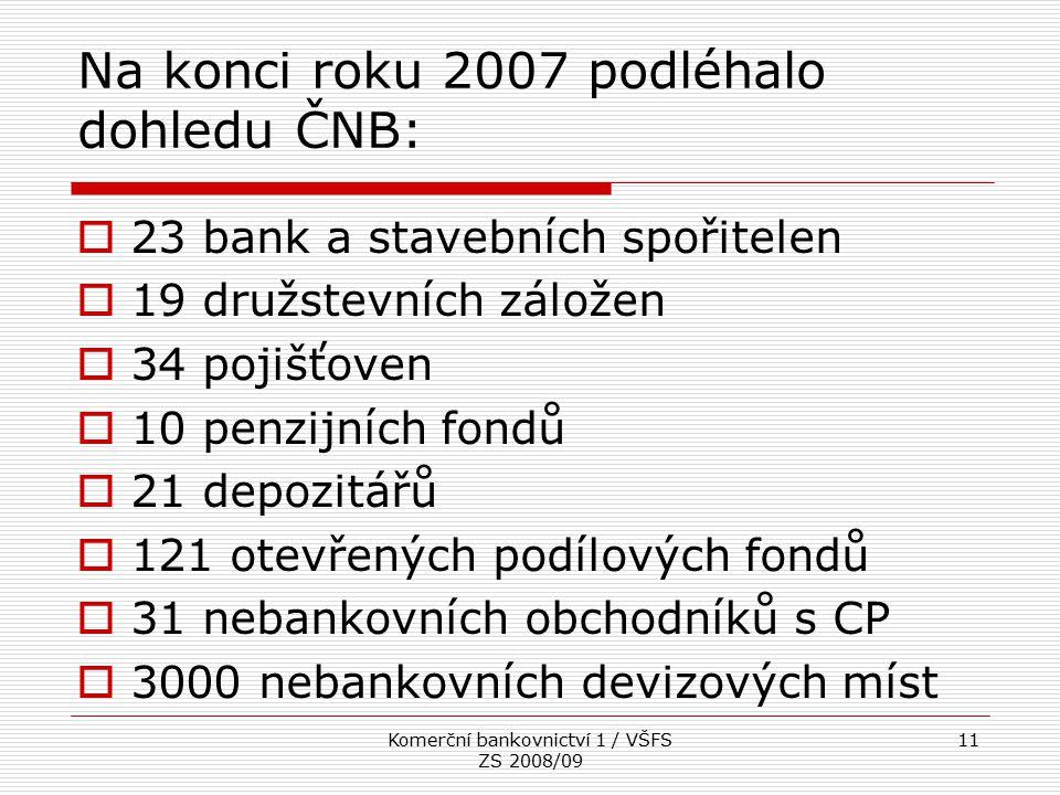 Na konci roku 2007 podléhalo dohledu ČNB: