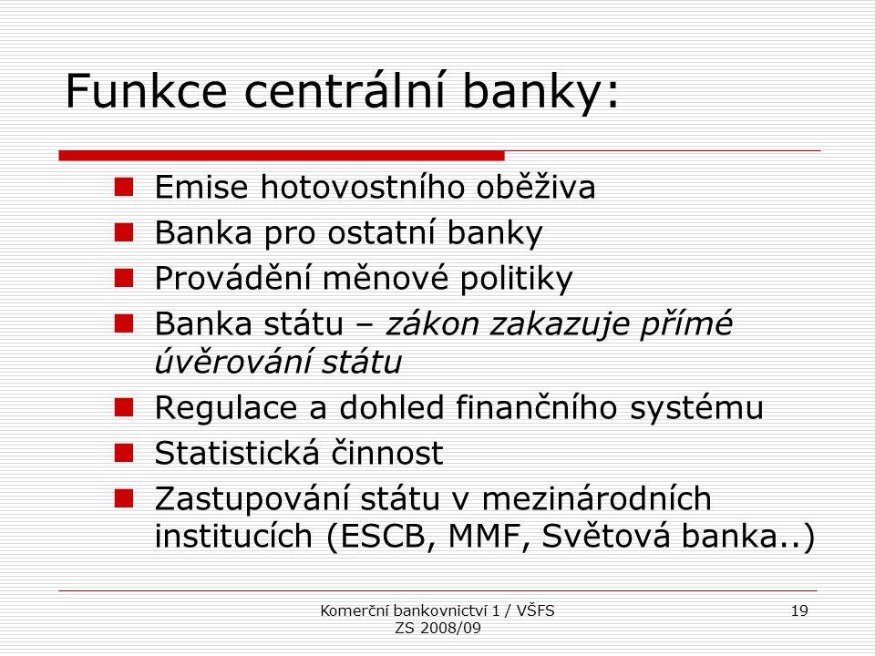 Funkce centrální banky: