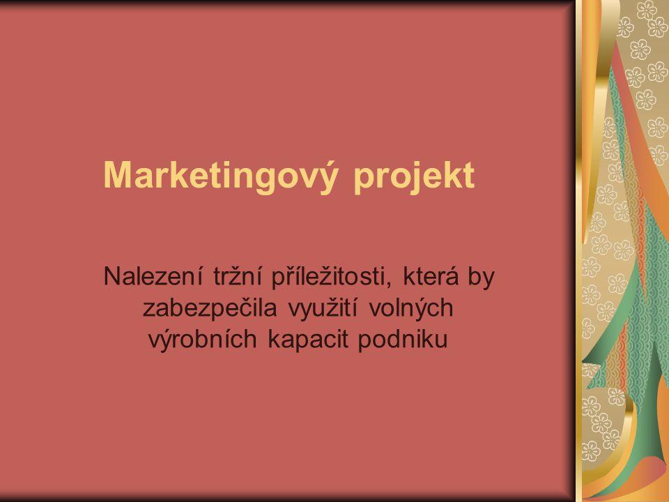 Marketingový projekt Nalezení tržní příležitosti, která by zabezpečila využití volných výrobních kapacit podniku.