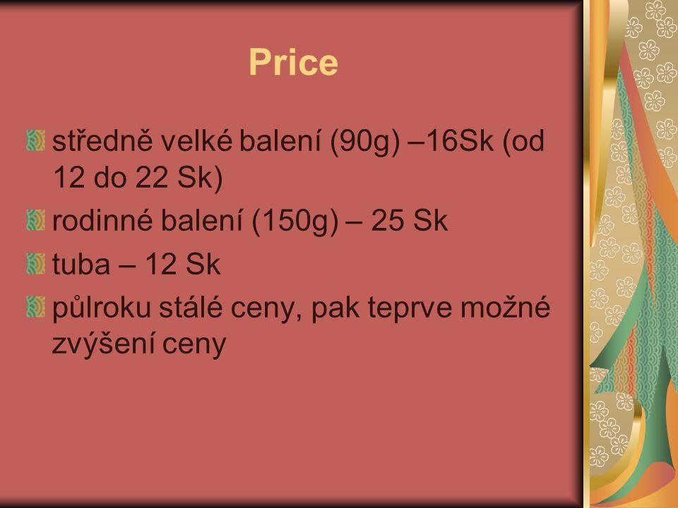 Price středně velké balení (90g) –16Sk (od 12 do 22 Sk)