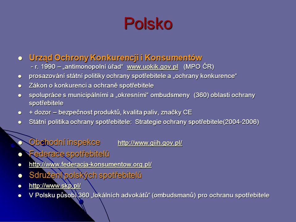 """Polsko Urząd Ochrony Konkurencji i Konsumentów - r. 1990 – """"antimonopolní úřad www.uokik.gov.pl (MPO ČR)"""