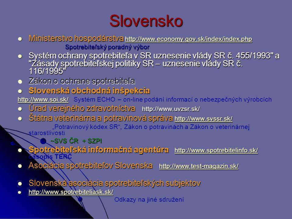 Slovensko Ministerstvo hospodárstva http://www.economy.gov.sk/index/index.php. Spotrebiteľský poradný výbor.