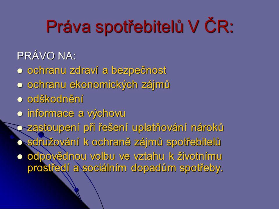 Práva spotřebitelů V ČR: