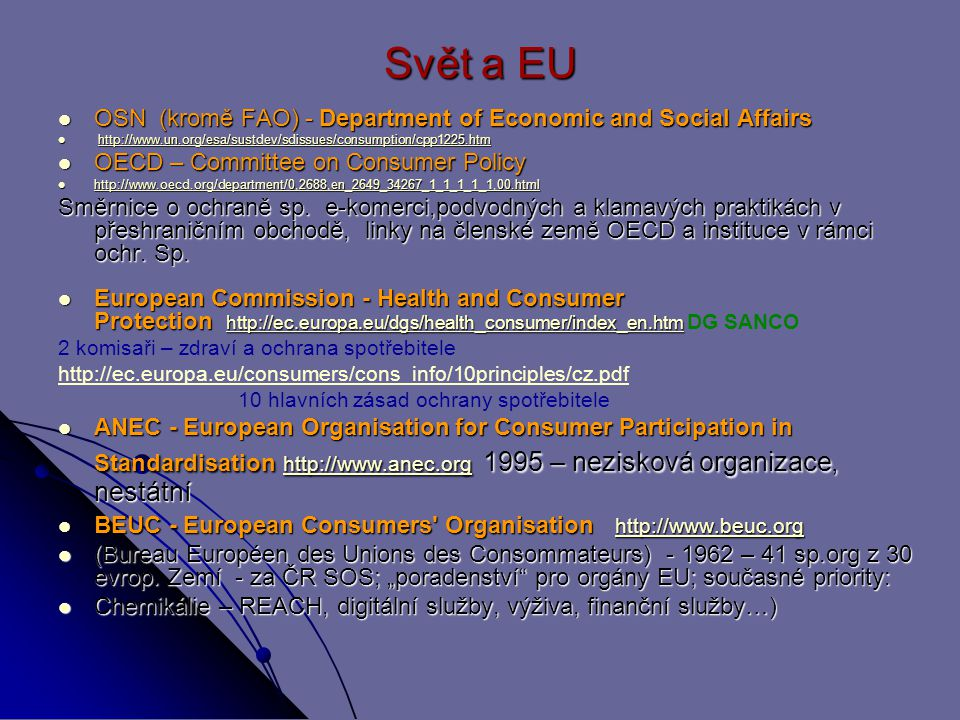 Svět a EU OSN (kromě FAO) - Department of Economic and Social Affairs