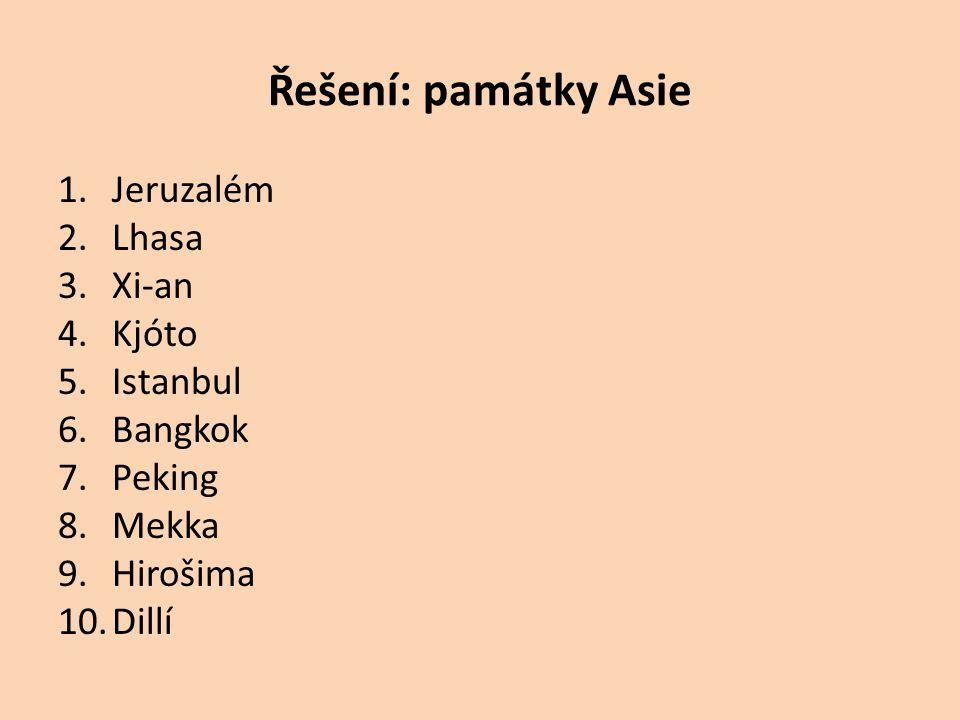 Řešení: památky Asie Jeruzalém Lhasa Xi-an Kjóto Istanbul Bangkok
