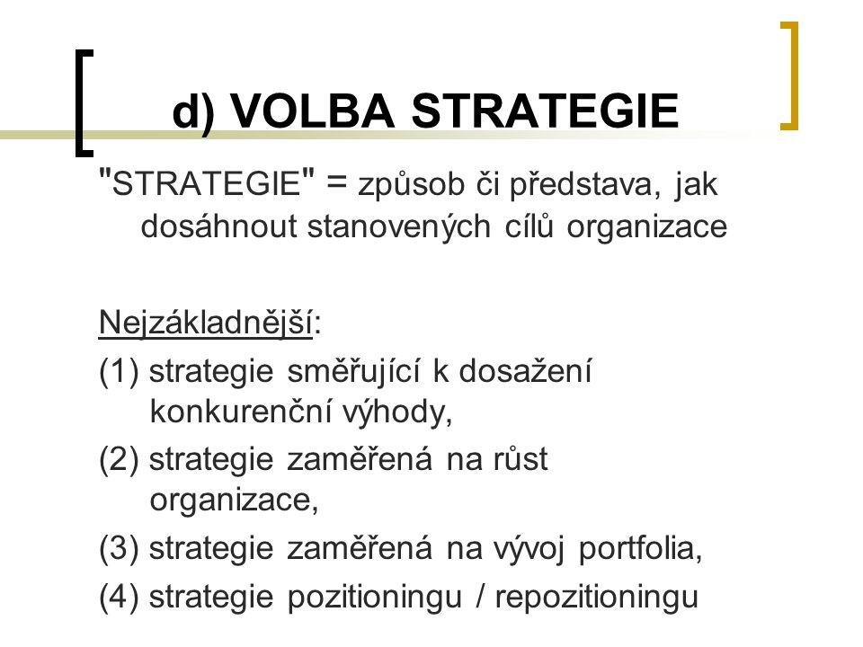 d) VOLBA STRATEGIE STRATEGIE = způsob či představa, jak dosáhnout stanovených cílů organizace. Nejzákladnější: