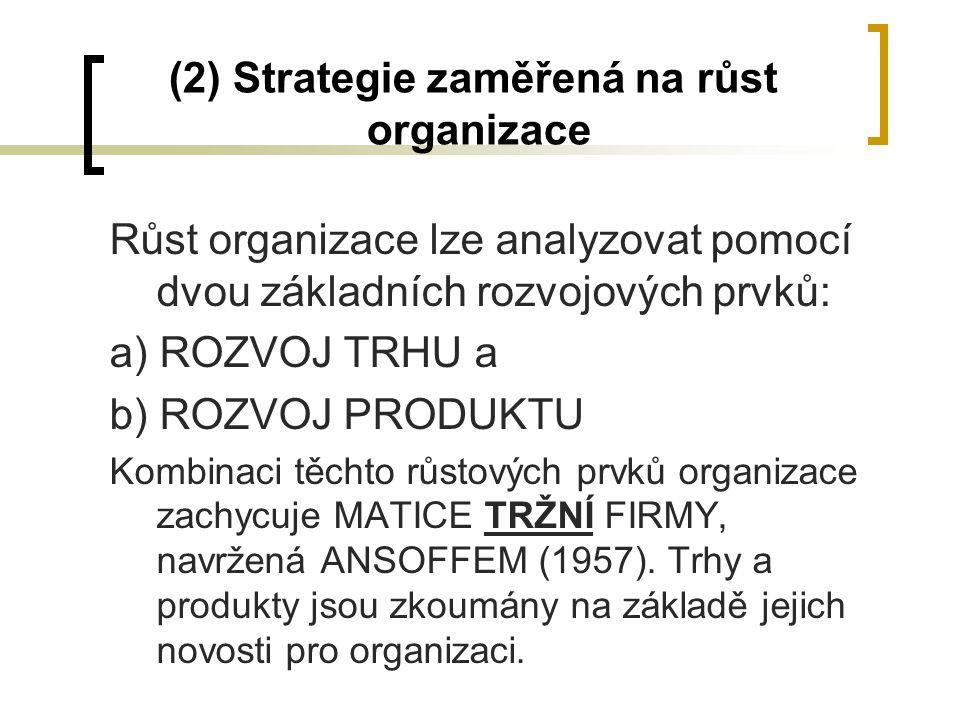 (2) Strategie zaměřená na růst organizace