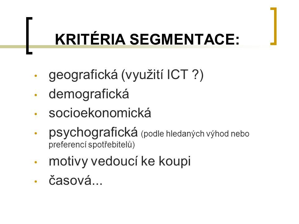 KRITÉRIA SEGMENTACE: geografická (využití ICT ) demografická
