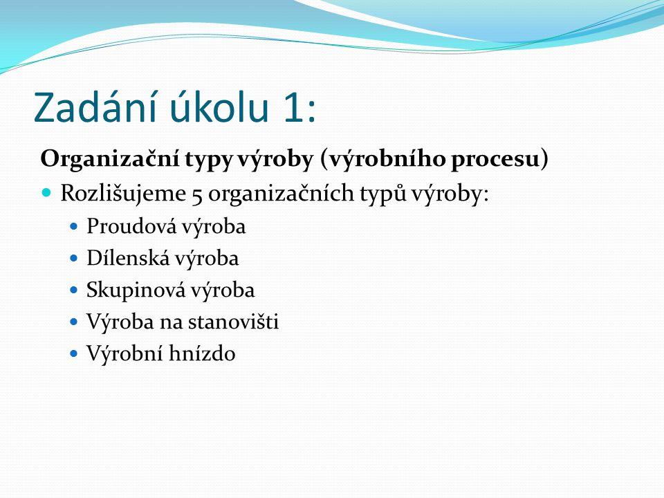 Zadání úkolu 1: Organizační typy výroby (výrobního procesu)
