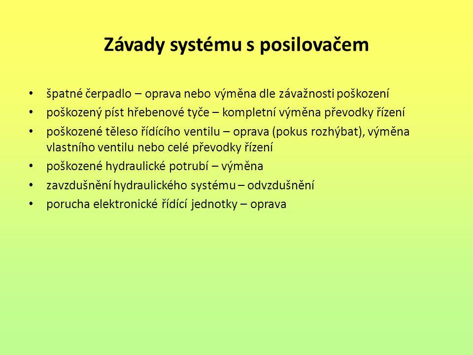Závady systému s posilovačem