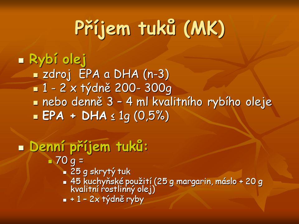Příjem tuků (MK) Rybí olej Denní příjem tuků: zdroj EPA a DHA (n-3)