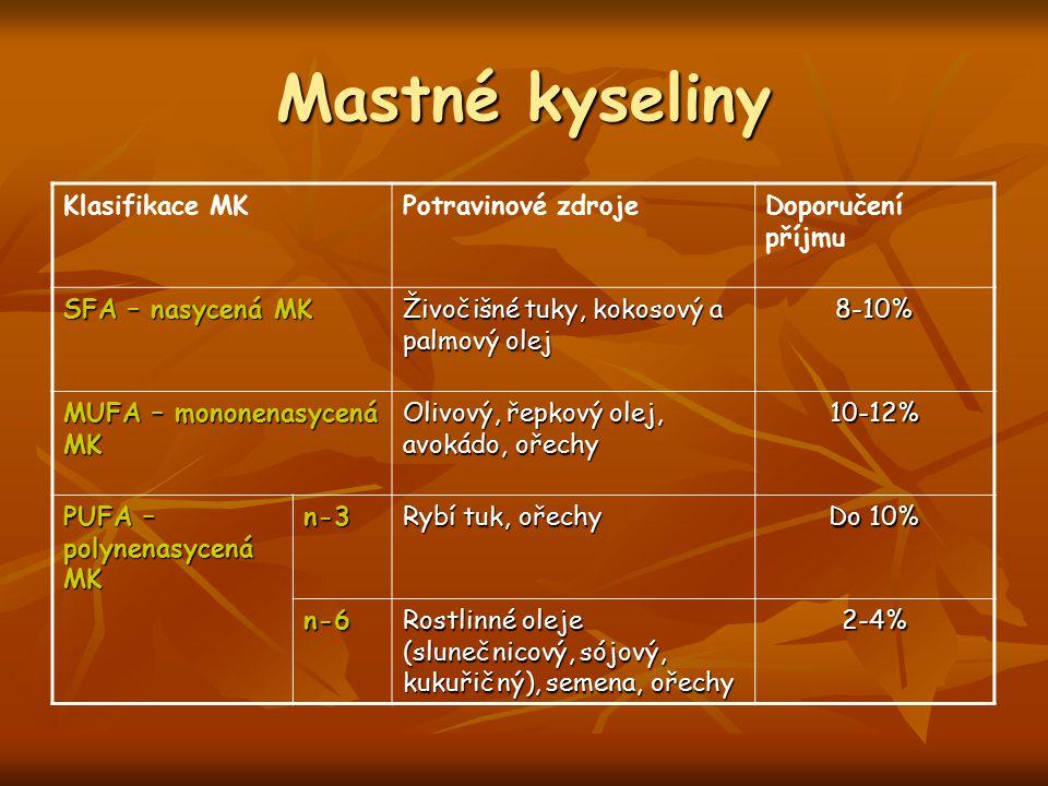 Mastné kyseliny Klasifikace MK Potravinové zdroje Doporučení příjmu