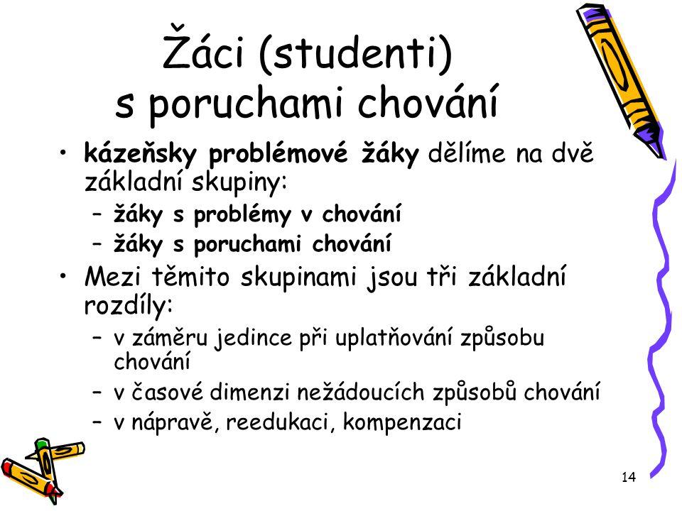 Žáci (studenti) s poruchami chování