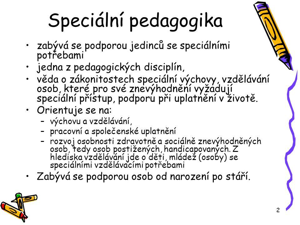 Speciální pedagogika zabývá se podporou jedinců se speciálními potřebami. jedna z pedagogických disciplín,