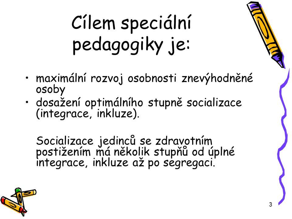 Cílem speciální pedagogiky je: