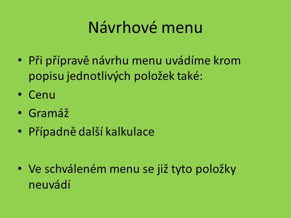 Návrhové menu Při přípravě návrhu menu uvádíme krom popisu jednotlivých položek také: Cenu. Gramáž.
