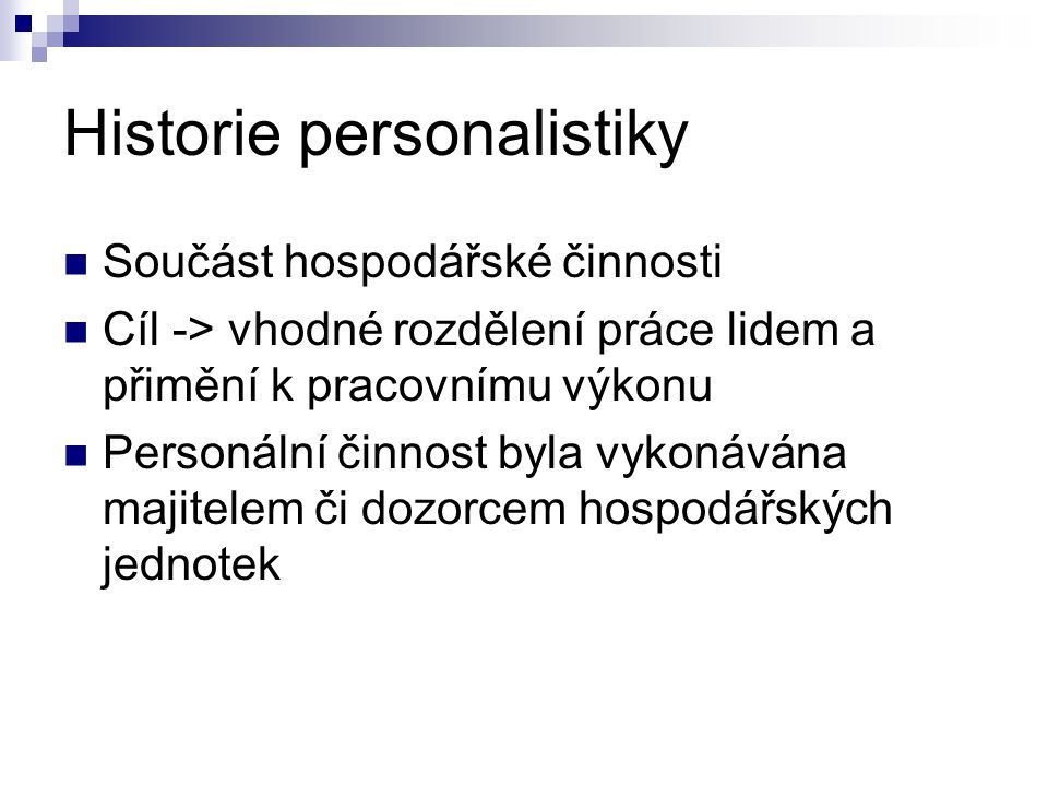 Historie personalistiky