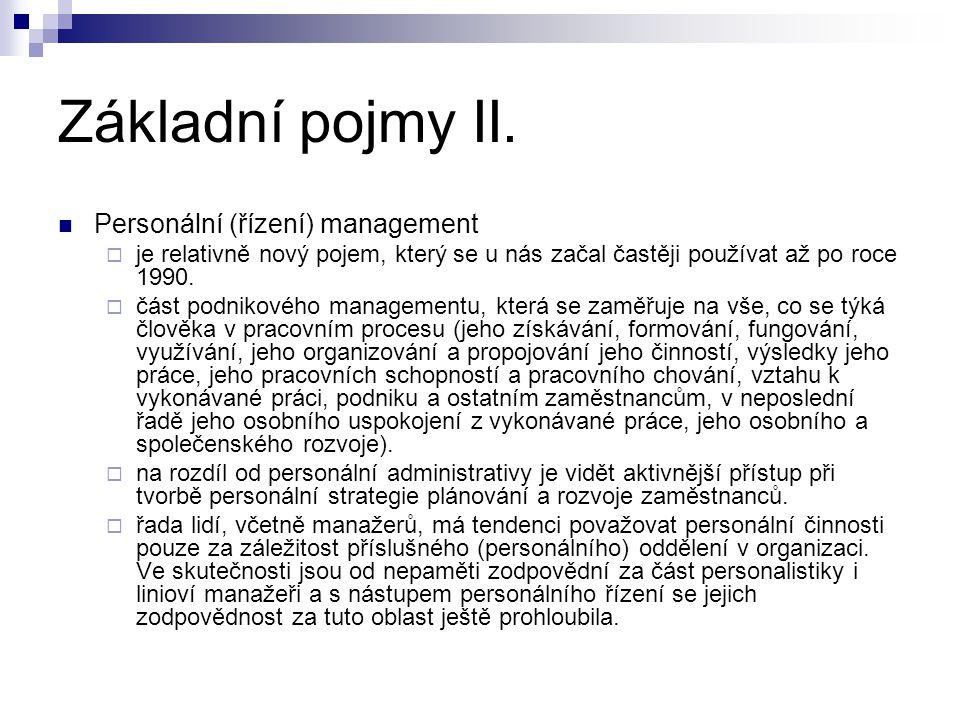 Základní pojmy II. Personální (řízení) management