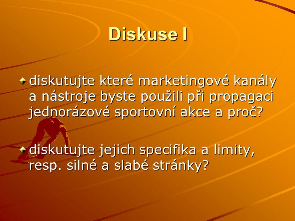 Diskuse I diskutujte které marketingové kanály a nástroje byste použili při propagaci jednorázové sportovní akce a proč