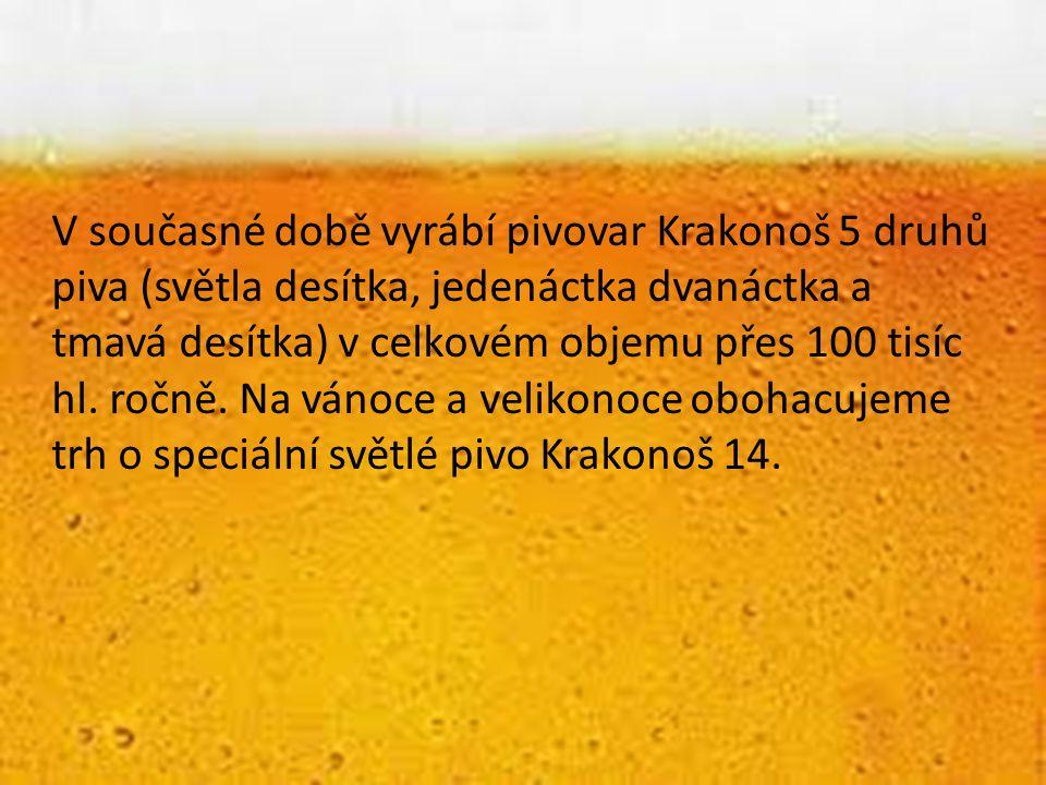 V současné době vyrábí pivovar Krakonoš 5 druhů piva (světla desítka, jedenáctka dvanáctka a tmavá desítka) v celkovém objemu přes 100 tisíc hl.