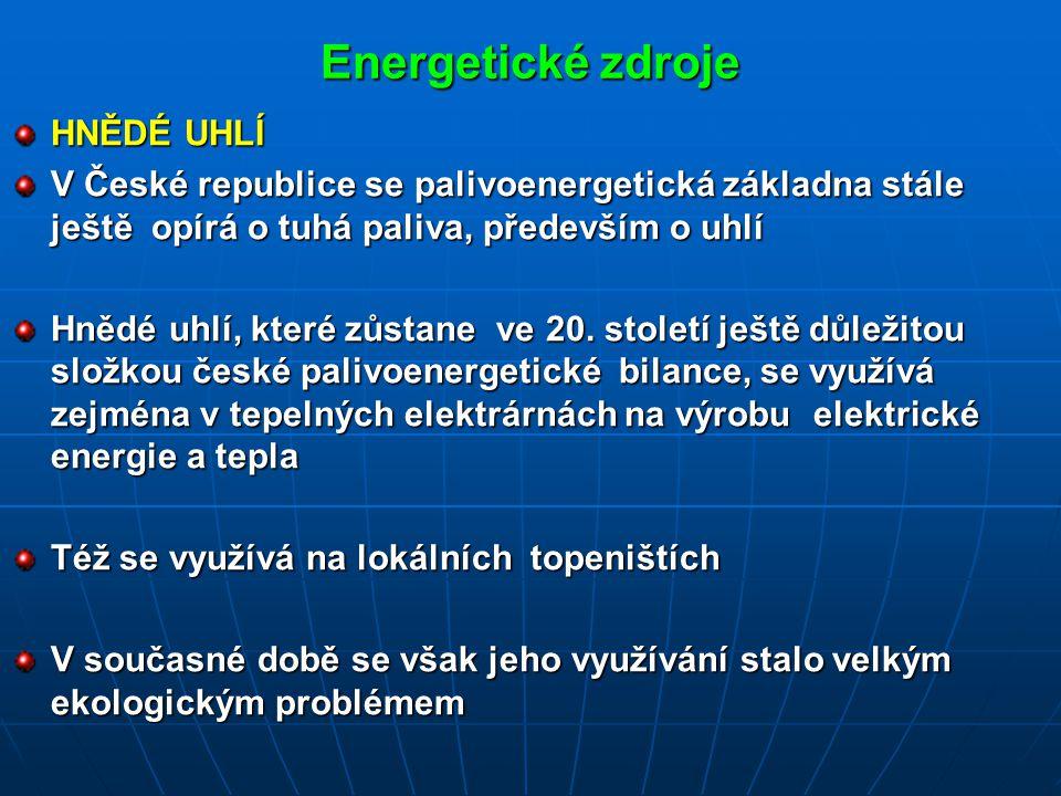 Energetické zdroje HNĚDÉ UHLÍ