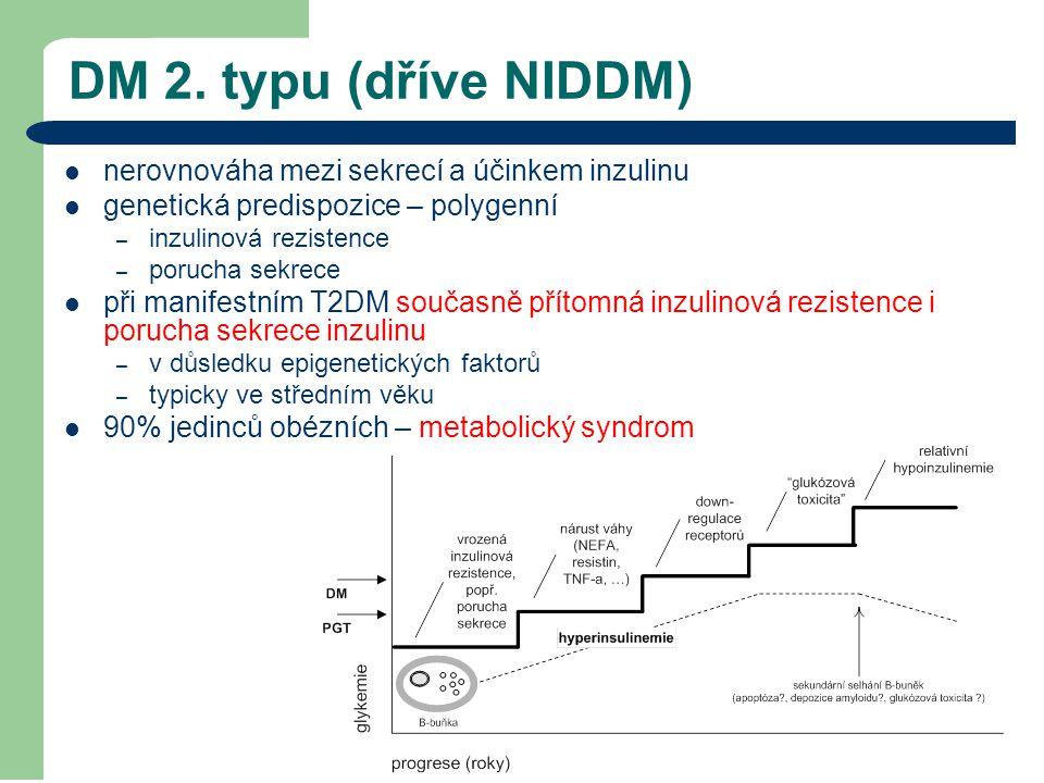 DM 2. typu (dříve NIDDM) nerovnováha mezi sekrecí a účinkem inzulinu