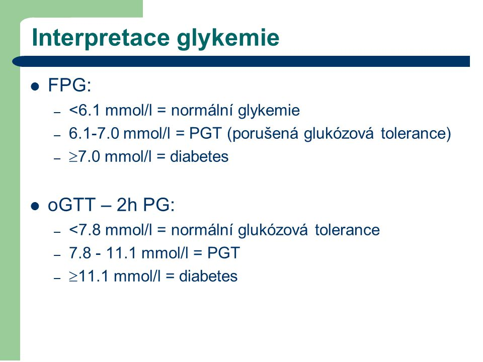 Interpretace glykemie