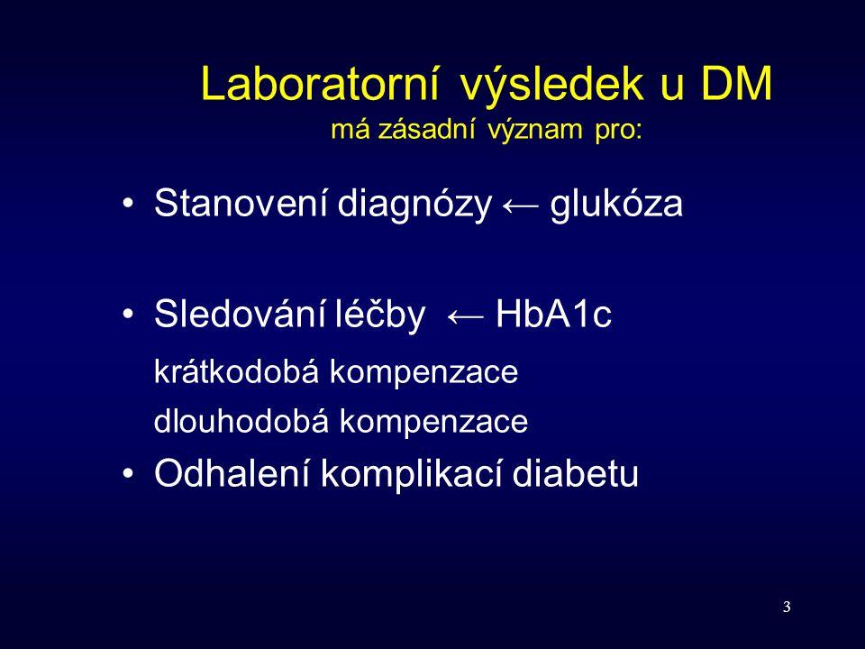 Laboratorní výsledek u DM má zásadní význam pro: