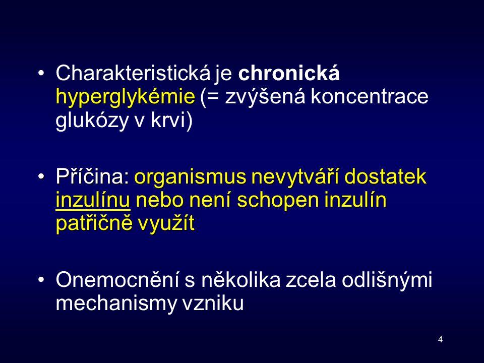 Charakteristická je chronická hyperglykémie (= zvýšená koncentrace glukózy v krvi)