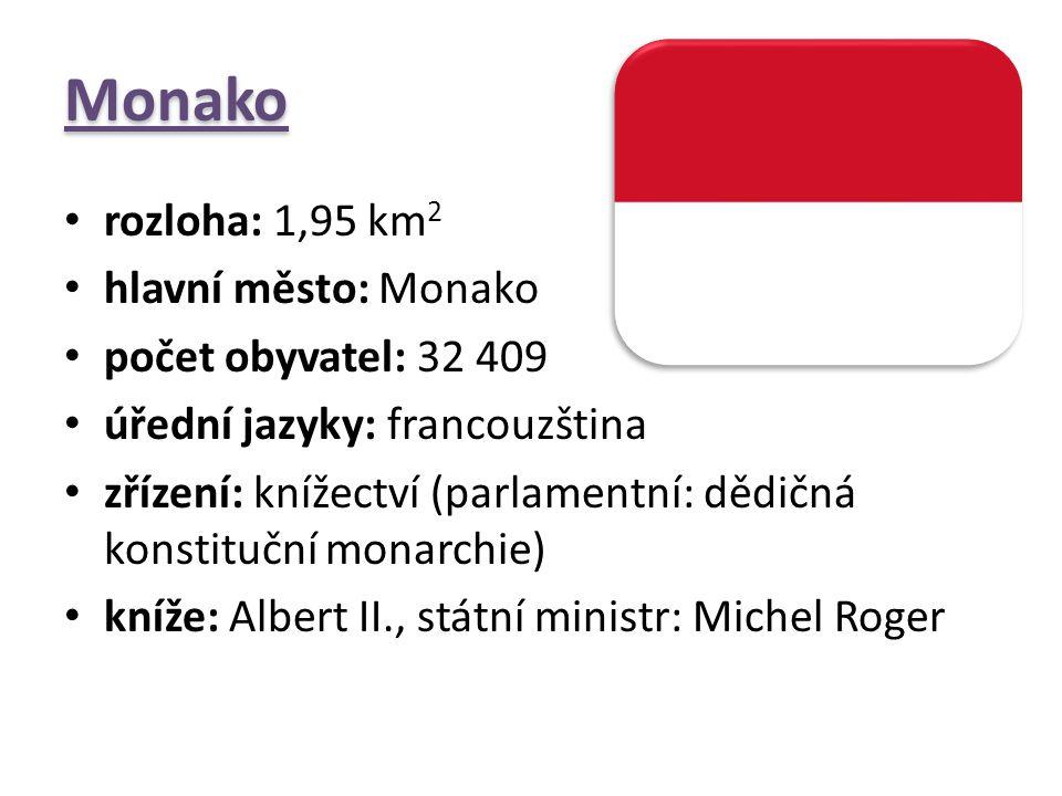 Monako rozloha: 1,95 km2 hlavní město: Monako počet obyvatel: 32 409
