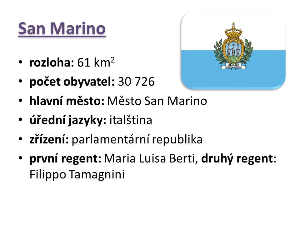 San Marino rozloha: 61 km2 počet obyvatel: 30 726