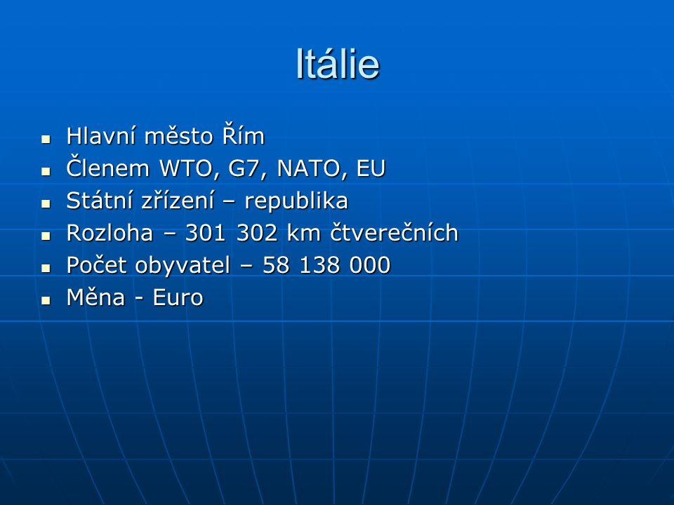 Itálie Hlavní město Řím Členem WTO, G7, NATO, EU