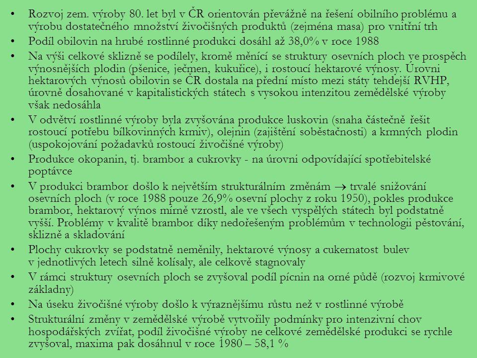 Rozvoj zem. výroby 80. let byl v ČR orientován převážně na řešení obilního problému a výrobu dostatečného množství živočišných produktů (zejména masa) pro vnitřní trh
