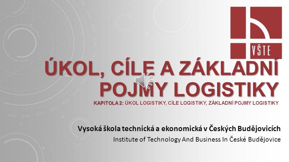 Úkol, cíle a základní pojmy logistiky Kapitola 2: Úkol logistiky, Cíle logistiky, Základní pojmy logistiky