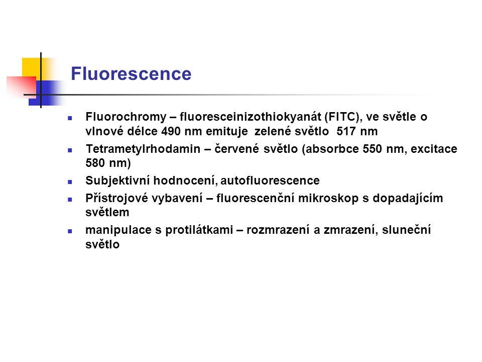 Fluorescence Fluorochromy – fluoresceinizothiokyanát (FITC), ve světle o vlnové délce 490 nm emituje zelené světlo 517 nm.